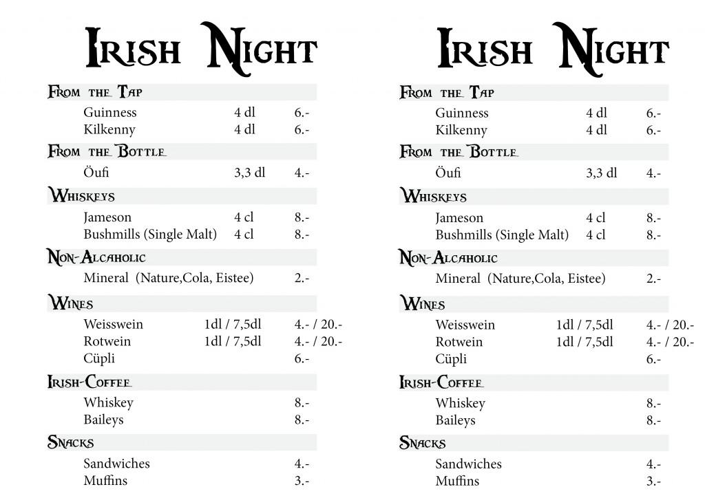 2012 Irish Night Barkarte