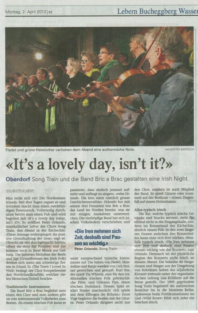 """Bericht Solothurner Zeitung """"Irish Night"""" vom 2.04.2012"""