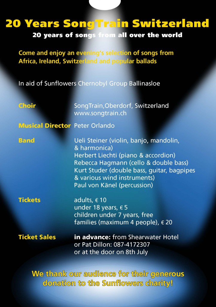 Flyer Konzert Shearwater Hotel, Ballinasloe