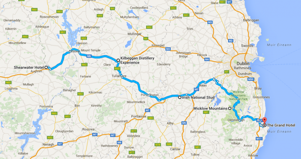 Busfahrt Ballinasloe-Kilbeggan-National Stud-Wicklow Mountains-Wicklow