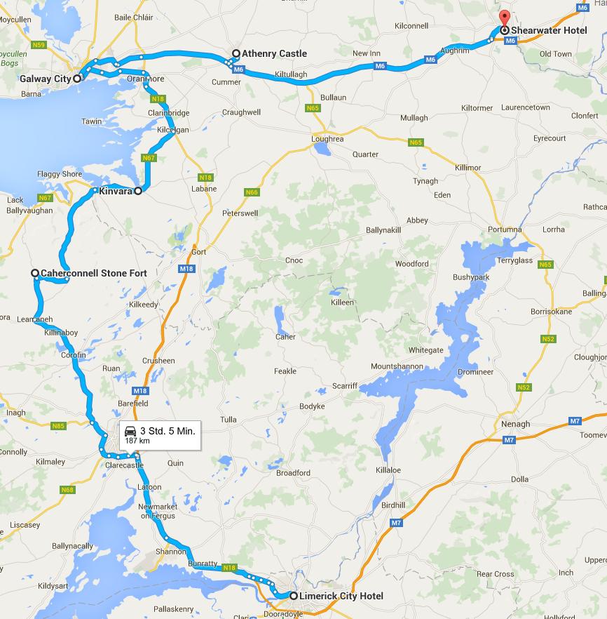 Busfahrt Limerick-Caherconnel-Kinvara-- Galway-Athenry-Ballinasloe