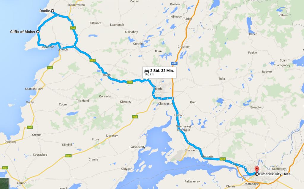 Busfahrt Limerick-Cliff of Moher-Doolin-Limerick