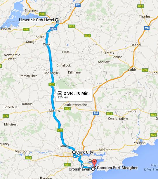 Busfahrt Limerick-Cork-Crosshaven-Limerick