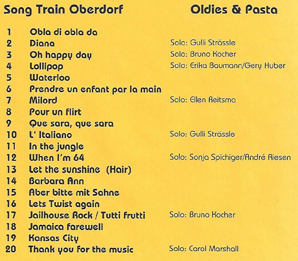 Konzertprogramm 1999 Oldies & Pasta