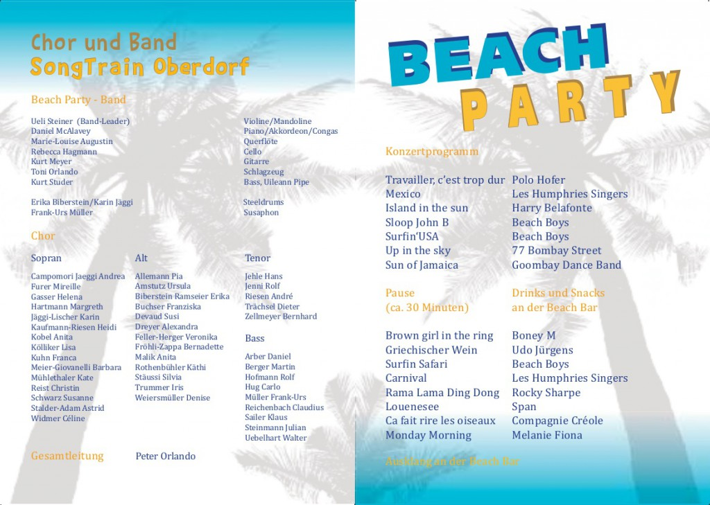 Konzertprogramm Beach Party 2013