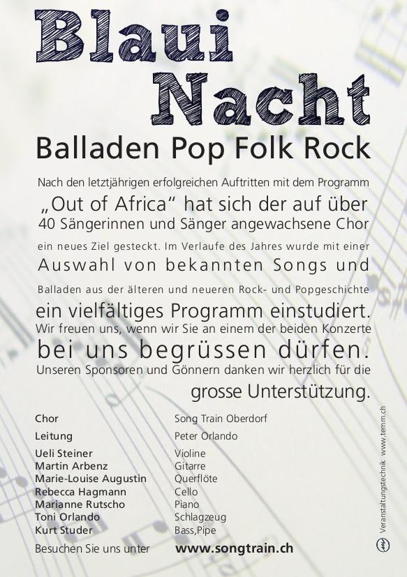SongTrain Flyer Rückseite 2011