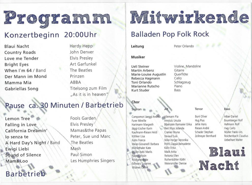 SongTrain Konzertprogramm 2011