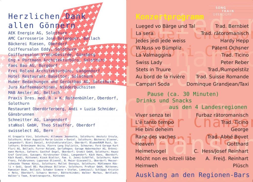 SongTrain Konzertprogramm Seite 1+4 2014