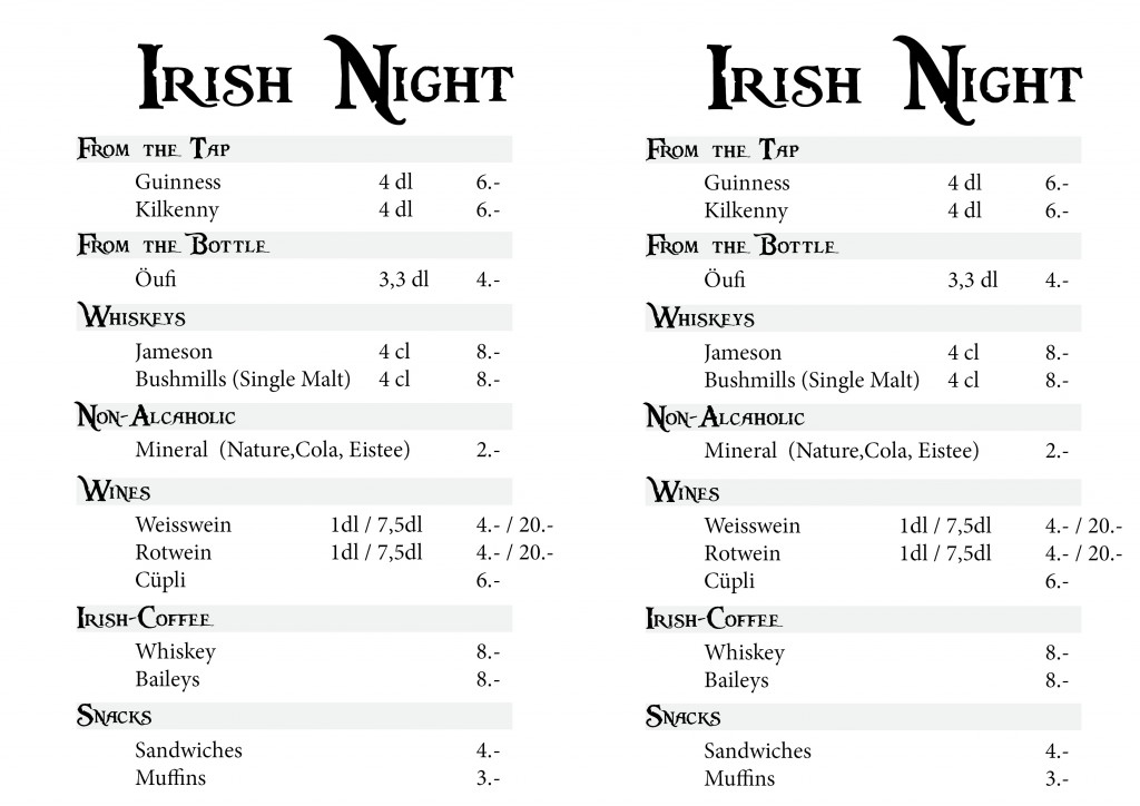 2012 Irish Night Barkarte