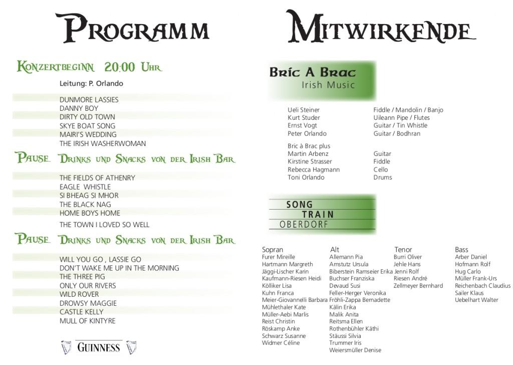 2012 Irish Night Konzertprogramm