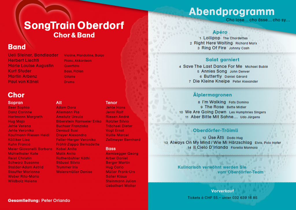 "Konzerprogramm 2016 ""Liebeslieder"" Oberdörferberg"