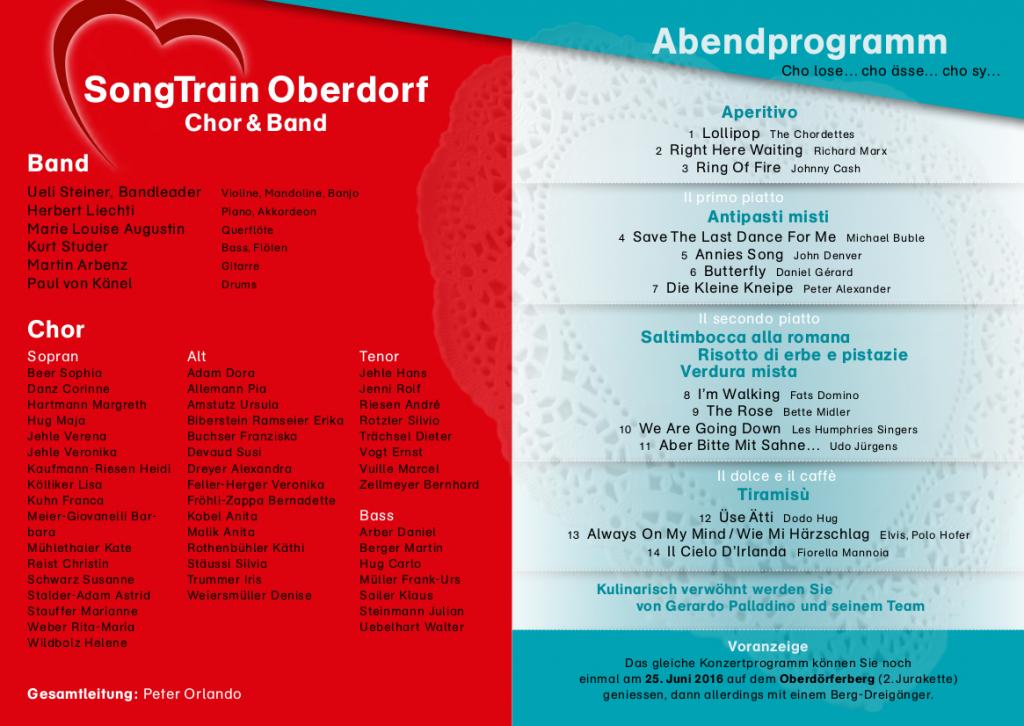 """Konzertprogramm 2016 """"Liebeslieder"""""""