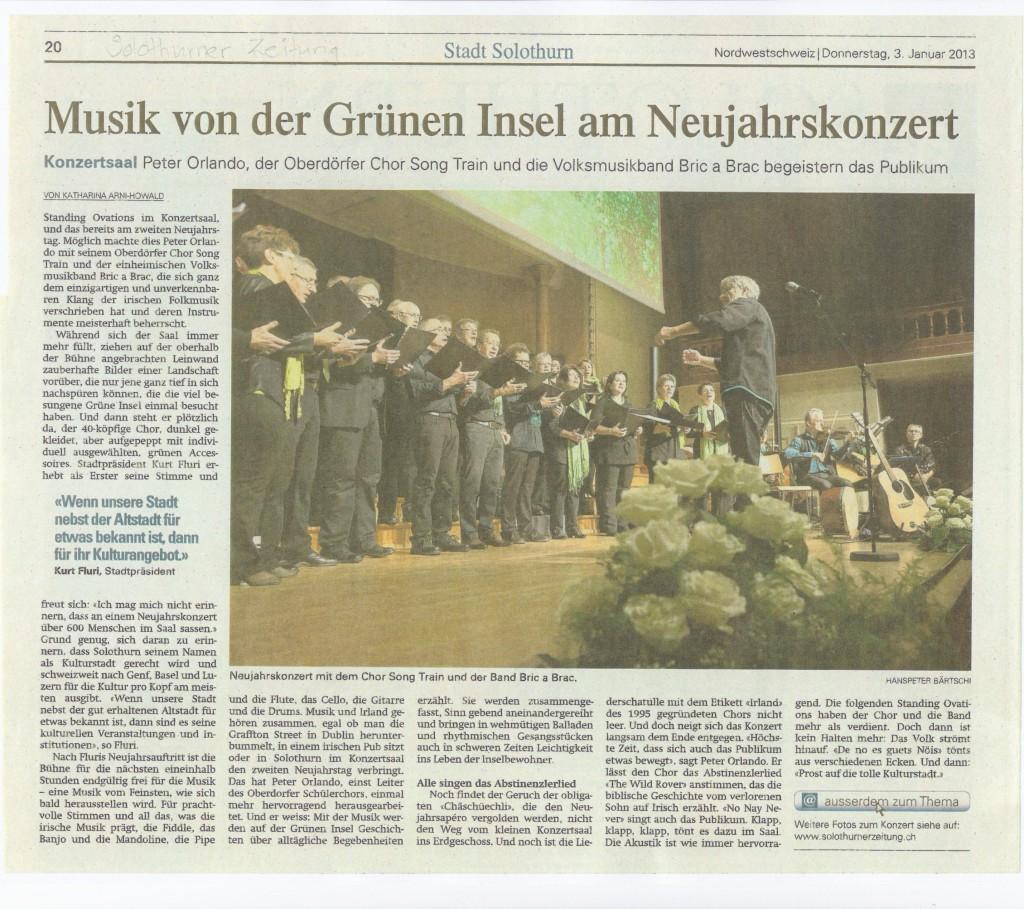 Bericht Solothurner Zeitung zum Neujahrskonzert 2013