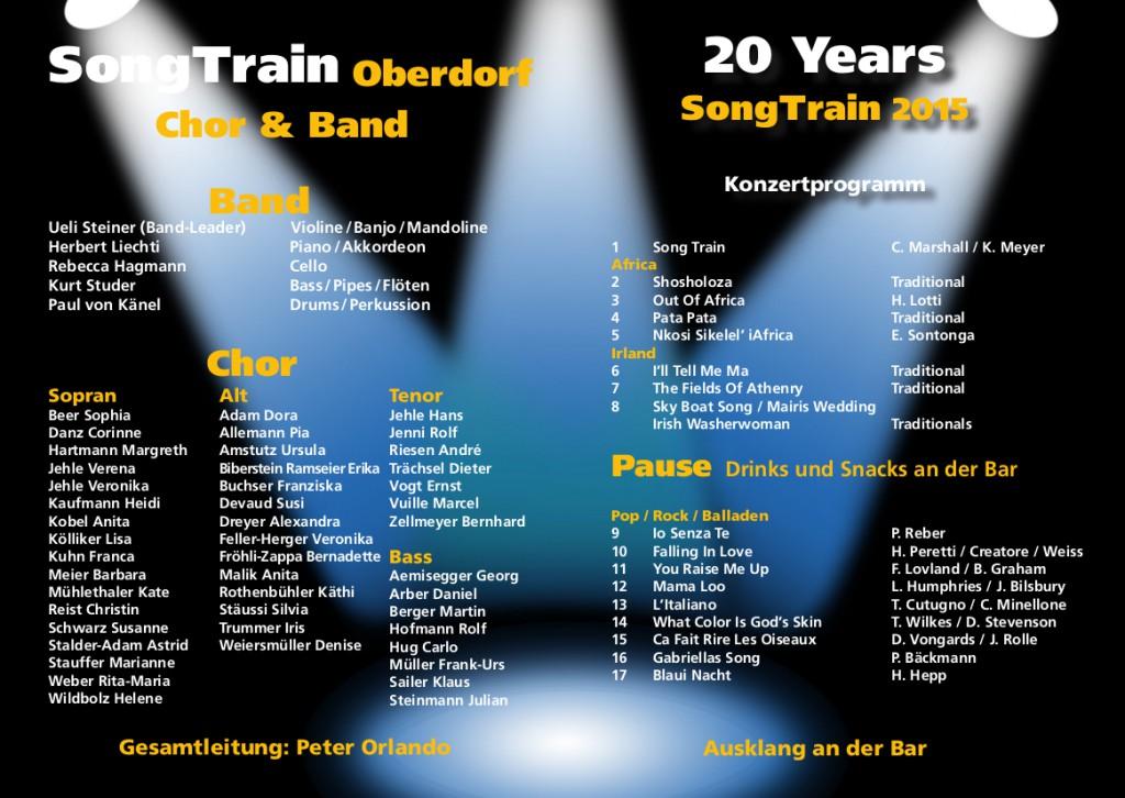 """Konzertprogramm 2015 """"20 Years SongTrain"""""""